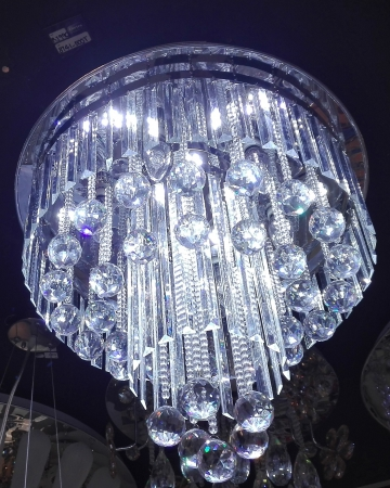 DOUBLE RING CHROME CRYSTAL WITH CLEAR BEADS CEILING LIGHT