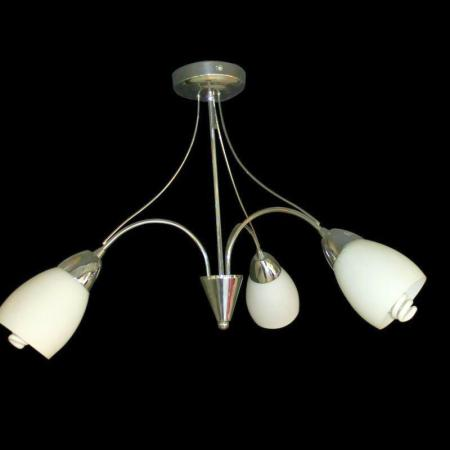 Polished Chrome Chandelier with White Glass