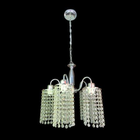 Polished Chrome Chandelier with Clear Acrylic Crystals