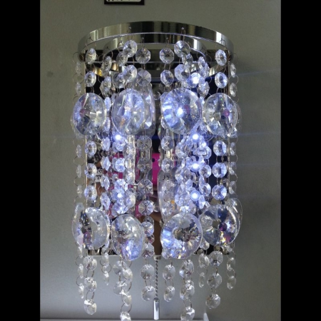 LED Colour Changing Chrome and Clear Crystal  Wall Light